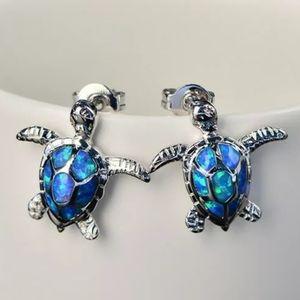 Blue Fire Opal Turtle Earrings